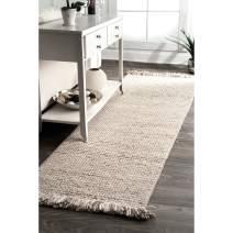 "nuLOOM Eileen Hand Woven Wool Runner Rug, 2' 6"" x 8', Beige"
