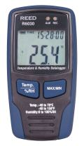 REED Instruments R6030 Temperature and Humidity Datalogger, -40 to 158°F (-40 to 70°C), 0-100%RH with NIST Calibration Certificate