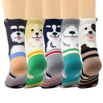 LIVEBEAR 4/5/10 Pairs Womens Cute Pets Patterns, Novelty, Casual Cotton Crew Socks Made In Korea