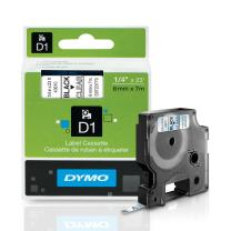 DYMO Standard D1 Labeling Tape for LabelManager Label Makers, Black print on Clear tape, 1/4'' W x 23' L, 1 cartridge (43610)