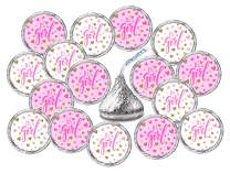 324 Its a Girl Pink Kisses Labels For Baby Shower Or Baby Sprinkle Party Or Event, Stickers, Wrappers, Favors