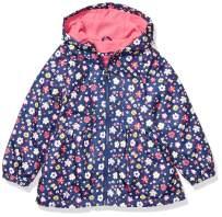 LONDON FOG Baby Girls Midweight Fleece Lined Peplum Jacket, Bright Pink/Navy Floral, 18 Months