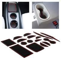 CupHolderHero for Toyota Prius Accessories 2016-2018 Premium Custom Interior Non-Slip Anti Dust Cup Holder Inserts, Center Console Liner Mats, Door Pocket Liners 16-pc Set (Red Trim)