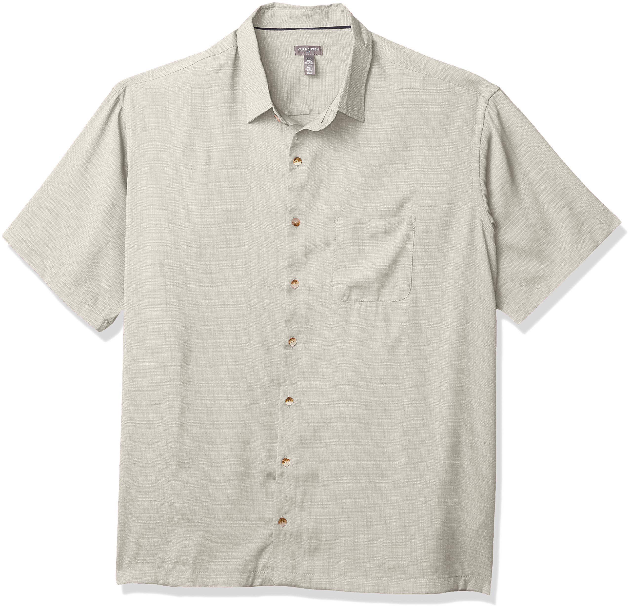 Van Heusen Men's Big and Tall Air Short Sleeve Button Down Grid Shirt