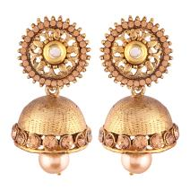 I Jewels Indian Bollywood Jewelry Round Jhumki Ethnic Earrings for women (E2434)