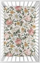 Sweet Jojo Designs Vintage Floral Boho Girl Fitted Mini Crib Sheet Baby Nursery for Portable Crib or Pack and Play - Blush Pink, Yellow, Green and White Shabby Chic Rose Flower Farmhouse