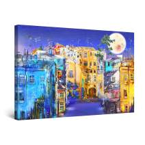 """Startonight Canvas Wall Art Abstract - Happy Colors Urban Landscape and Moon Painting - Artwork Print for Bedroom 24"""" x 36"""""""