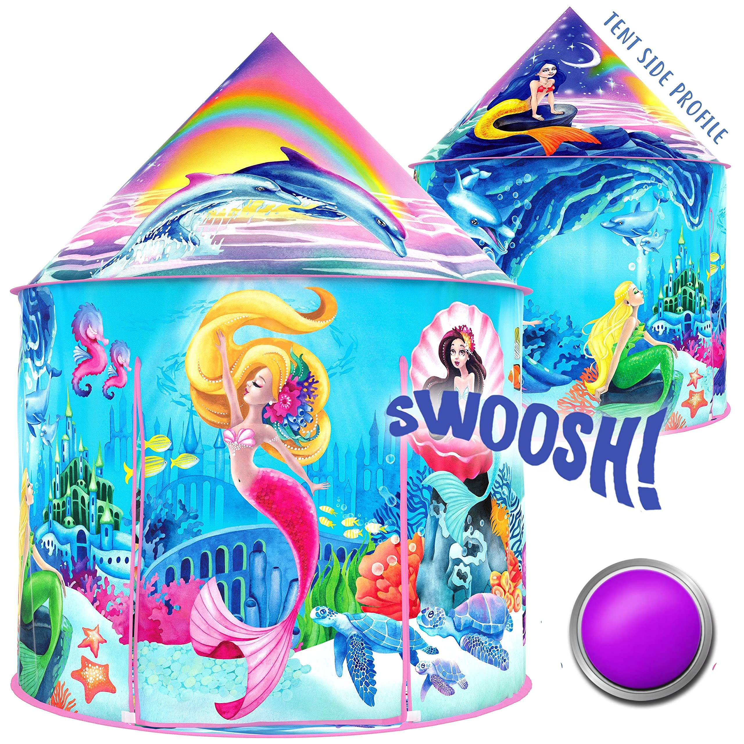 W&O Musical Mermaid Tent with Under-The-Sea Button, Magical Kids Play Tent, Mermaid Toys for Girls, Play Tents for Girls, Kids Tent, Outdoor & Indoor Tent for Kids, pop up Tent Kids, Tents for Kids