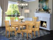 """7-Piece Vancouver Dining Table with one 17"""" Leaf and Six Wood Dinette chairs in Oak finish."""
