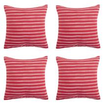 Deconovo Christmas Pillow Cases Striped Pillowcases Cushion Covers with Invisible Zipper, 18x18 Inch, White and Red
