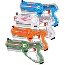 GotechoD Kids Laser Tag Set, Infrared Lazer Tag Guns 4 Player, Fun Multiplayer Laser Tag Blaster Game Guns Toys for Boys Girls Kids & Adults Xmas Gifts with Carrying Case 4 Pack