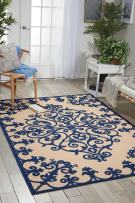 """Nourison Aloha Navy Rectangle Area Rug, 7-Feet 10-Inches by 10-Feet 6-Inches (7'10"""" x 10'6"""")"""