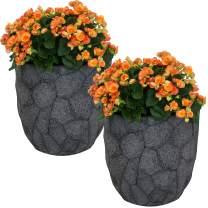 Sunnydaze Homestead Fiber Clay Planter Flower Pot, Durable Indoor/Outdoor 15-Inch Set of 2, Dark Gray Carved Stone