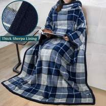 PAVILIA Premium Sherpa Fleece Blanket with Sleeves for Adult Women, Men | Cozy, Warm, Super Soft, Plush Blue Wearable Throw for Couch, Sofa | Lightweight Microfiber Plaid Design (Navy)