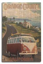Orange County, California - Camper Van Cruise (10x15 Wood Wall Sign, Wall Decor Ready to Hang)