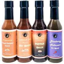 Premium | Tropical HOT SAUCE Variety or Gift 4 Pack | Pineapple Mango Ghost Pepper | Blueberry Habanero | Caribbean Orange Pineapple Pepper Sauce | Caribbean Jerk Peach Hot Sauce