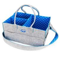 """Baby Diaper Caddy Nursery Organizer - Portable Changing Table Organizer and Diaper Stacker - Cute Gift for Registry for Baby Shower (15"""" x 10"""" x 7"""") (Blue)"""