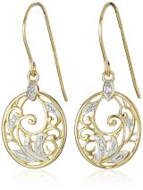 Gold Plated Sterling Silver Diamond Accent Filigree Disc Dangle Earrings