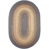 Super Area Rugs Hartford 8' X 11' Oval Braided Rug Blue & Beige Indoor/Outdoor Rug Primitive Washable Carpet