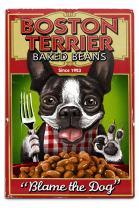 Lantern Press Boston Terrier, Retro Baked Beans Ad 55639 (6x9 Aluminum Wall Sign, Wall Decor Ready to Hang)