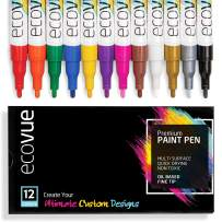 Oil Based Paint Pen Markers Fine Tip in 12 Vivid, Permanent, Fast Drying Colors For Glass, Wood, Mugs, Rock, Metal, Clay