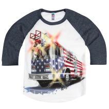 Shirts That Go Little Boys' Big USA Flag Fire Truck Raglan T-Shirt 6 Navy Sleeves