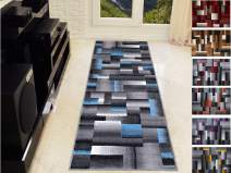 Handcraft Abstract – Blue/Silver/Gray Geometric Modern Squares Pattern Area Rug 2 ft. by 7 ft. Runner.