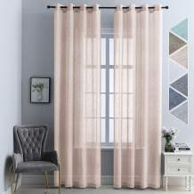 """84"""" Apricot Grommet Curtains 84 inch Length Terracotta Sheer Curtains, 84 in Pink Coral Sheer Grommet Curtains, Haperlare Sheer Curtains"""