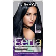 L'Oréal Paris Feria Multi-Faceted Shimmering Permanent Hair Color, M31 Midnight Moon (Cool Soft Black), 1 kit Hair Dye