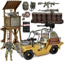 US Army Military Toy Play Set with Watchtower Military Vehicle Action Soldier Figures and Weapon Accessories, Gift Boutique Top Secret Notepad, 12 Piece Elite Force Army Set for Boys Kids and Children