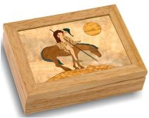 MarqART Native American Wood Art Trinket Jewelry Box & Gift - Handmade USA - Unmatched Quality - Unique, No Two are The Same - Original Work of Wood Art (#4112 End of Trail 4x5x1.5)