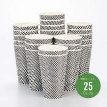 "16 oz Houndstooth Paper Coffee Cup - Spiral Wall - 3 1/2"" x 3 1/2"" x 5 1/2"" - 25 count box - Restaurantware"