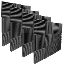"""Mybecca 2"""" X 12"""" X 12"""" Acoustic Panels Studio Foam Wedges, 48 Pack - Color: Charcoal"""