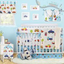 Brandream Nursery Bedding Sets for Boys Car Vehicle Crib Bedding with Crib Rail Teething Guard White Blue 100% Breathable Cotton Crib Sets, 9 Pieces