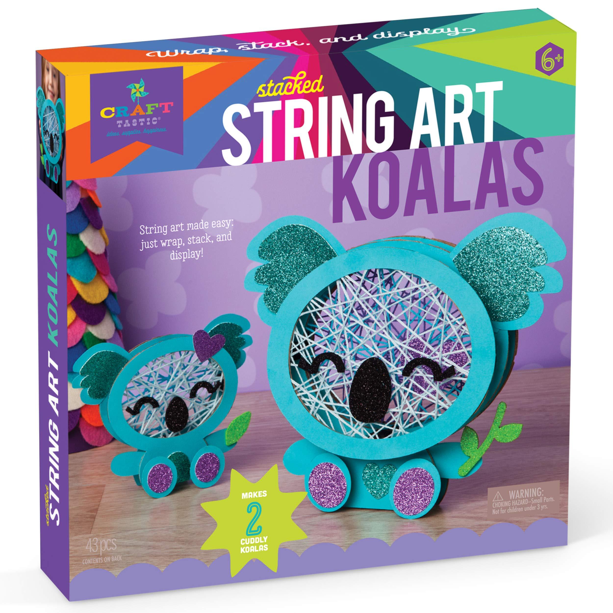 Craft-tastic – Stacked String Art Koalas  – Craft Kit Makes 2 Cute Koalas