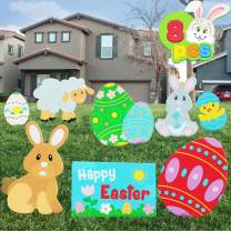 JOYIN 8 Pieces Easter Yard Signs Decorations Outdoor Bunny, Chick and Eggs Yard Stake Signs Easter Lawn Yard Decorations for Easter Hunt Game, Party Supplies Décor, Easter Props.