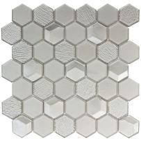 MTO0123   Modern Hexagon Gray Glossy Glass Mosaic Tile