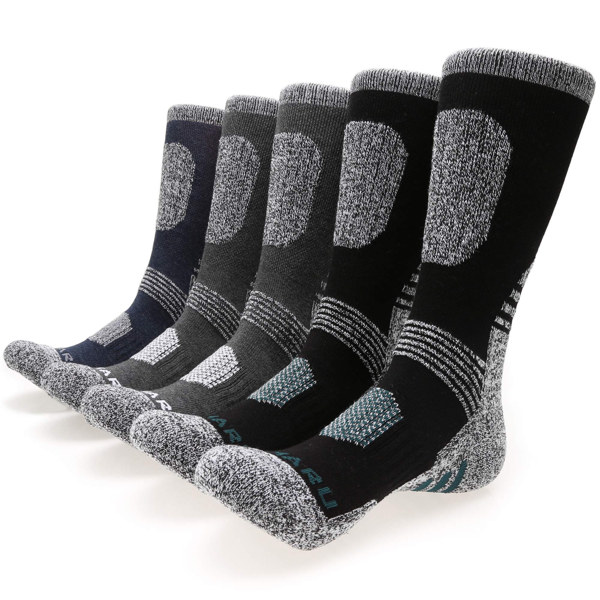 MIRMARU Men's 5 Pairs Hiking Socks- Multi Performance Moisture Wicking Outdoor Sports Hiking Crew Socks