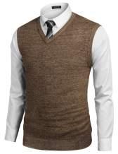 COOFANDY Men's Sleeveless Sweater Vest Lightweight V-Neck Solid Cotton Vest Pullover