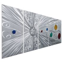 """Pure Art Silver Solstice - Metal Wall Art Decor - Abstract Modern Space Silver with Red, Yellow, Green and Blue Circles, Hanging Sculpture - Set of 5 Panels for Your Home or Office - 64"""" x 24"""""""