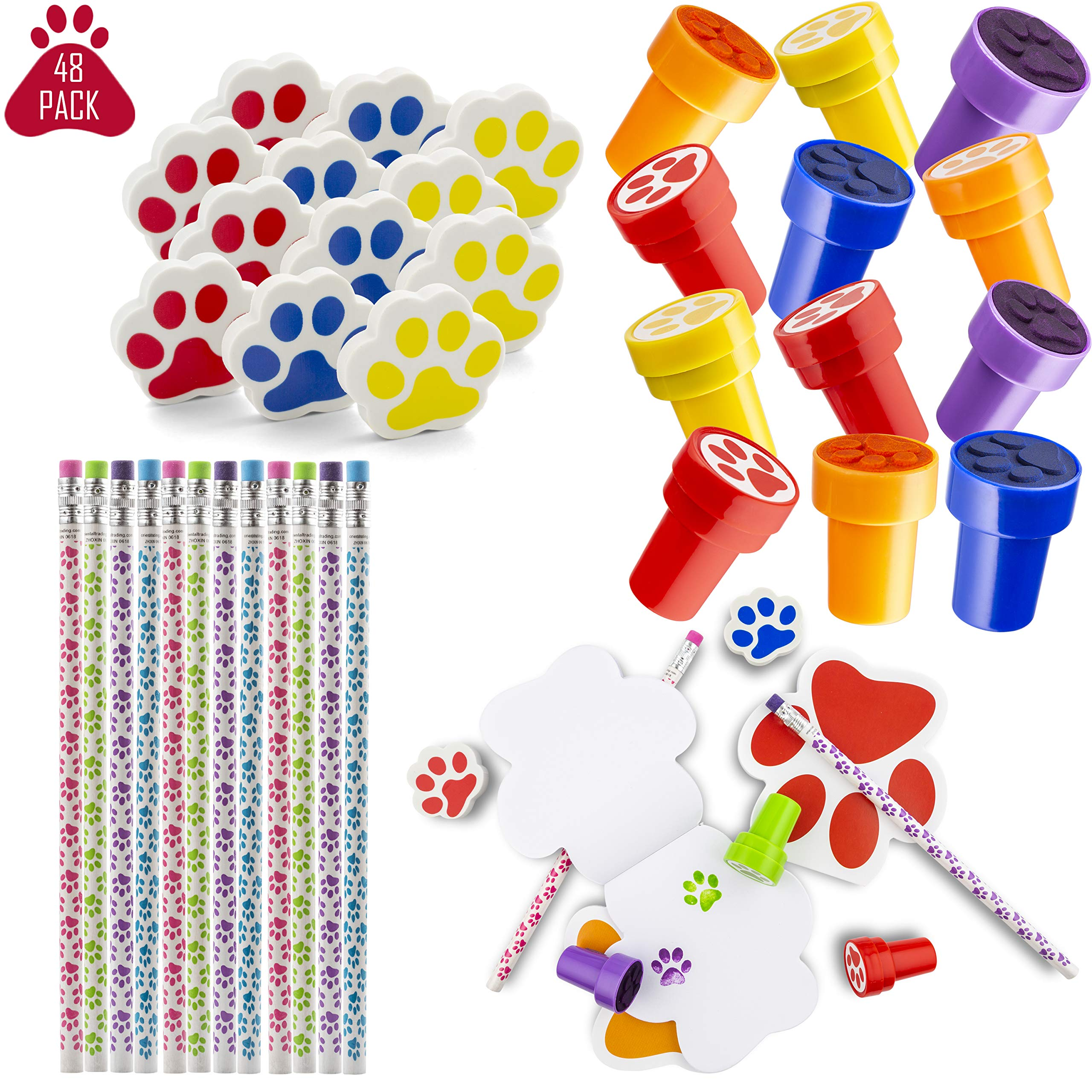 Favonir™ Paw Print Stationery Party Souvenirs Favors 48 Gift Pack – 12 Erasers – 12 Themed Booklets – 12 Pencils – 12 Stickers - Kids Birthday Party Supplies Bulk Set - Ideal As Party Favor Novelty Goody Bag Stuffer, Reward Prizes, carnival And Events