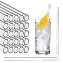 STRAWGRACE Handmade Glass Straws, Straight - independently Tested in DE - Set of 25 with 2 Brushes - Glass Drinking Straws, Ideal for Smoothie etc. - 20 cm x 10 mm - Healthy, Reusable, Free of BPA