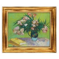 """UpperPin Majolica Jar with Branches of Oleander by Vincent Van Gogh, Giclee Print Framed Painting on Canvas for Wall Decoration, Victorian Gold Frame, Size 29"""" x 25"""", Ready to Hang"""