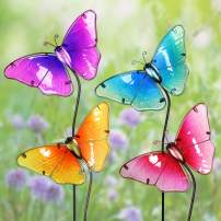 "Exhart Colorful Butterfly Decorations – Durable Glass ""Butterfly"" Garden Stakes, Garden Stake Set: Red, Yellow, Turquoise, Purple – Decorative Butterflies for Garden/Yard (8.25"" L x 1.25"" W x 26"" H)"