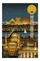 Cairo, Egypt - Retro Skyline (no Text) (Premium 1000 Piece Jigsaw Puzzle for Adults, 20x30, Made in USA!)