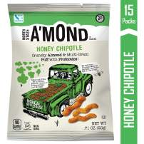 A'mond Honey Chipotle Snack Puffs, Gluten-Free, Organic Almond and Ancient Grain Plant-Based Blend, 15 Count, Single Serve Bags .71 oz Each