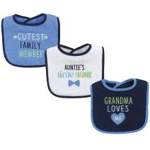 Luvable Friends Unisex Baby Cotton Drooler Bibs with Fiber Filling, Boy Family, One Size