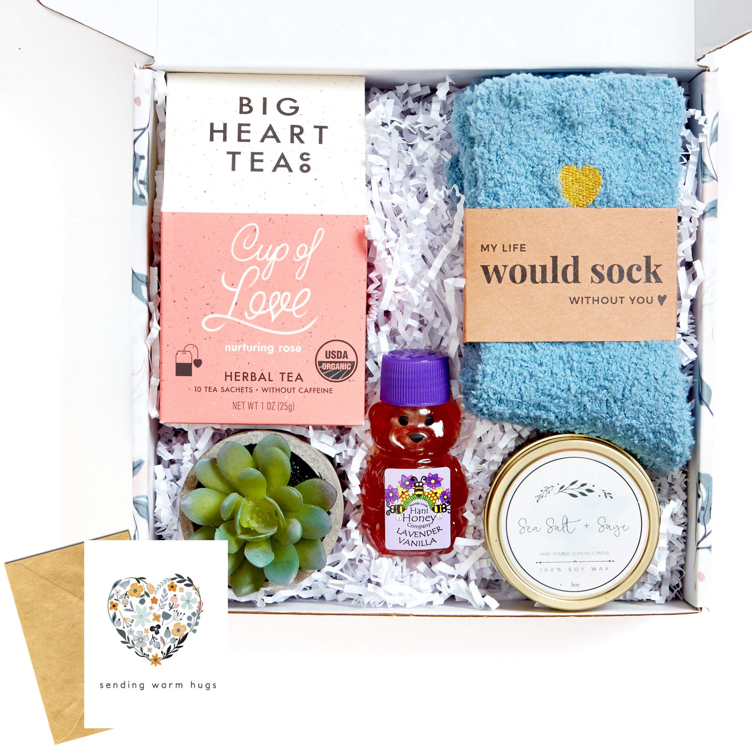 UnboxMe Care Package For Women | Get Well Soon Gift Feel Better Soon | Stress Relief Gift Self Care Encouragement Gift Nurse Gift Bff Gift, Cancer Gift, Happy Birthday Gift (Warm Hugs Card)