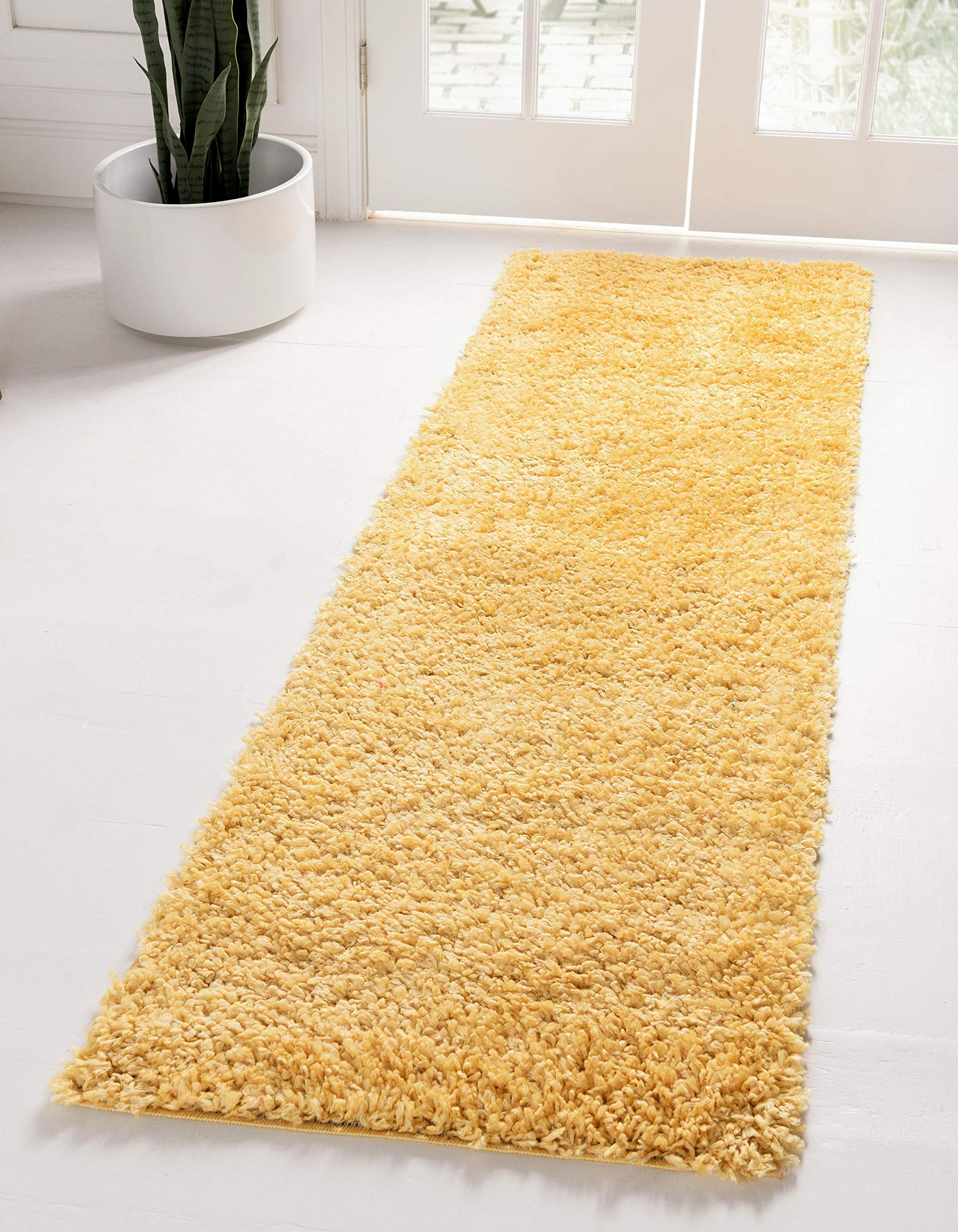 Unique Loom Davos Shag Collection Contemporary Soft Cozy Solid Shag Sunglow Runner Rug (2' 2 x 6' 7)