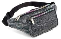 Festival Rave 80s Holographic Black Gravel Fanny Pack Waist Belt Bag For Women, Girls (Black Gravel)